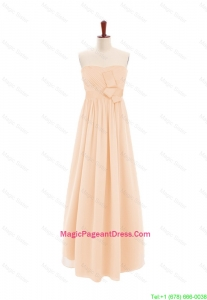 2016 Customize Sweetheart Bowknot Peach Pageant Dress in Chiffon