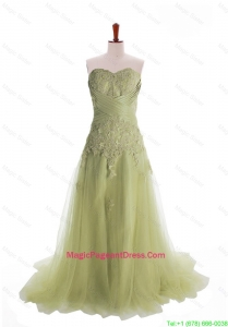 Luxurious Appliques Brush Train Long Pageant Dresses in Olive Green
