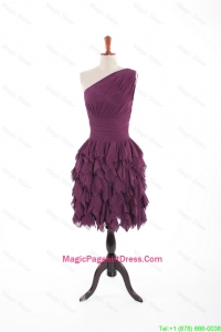 2016 Cute Burgundy Short Pageant Dresses with Belt and Ruching