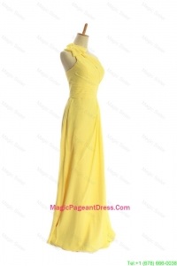Classical One Shoulder Long Yellow Pageant Dresses with Bowknot