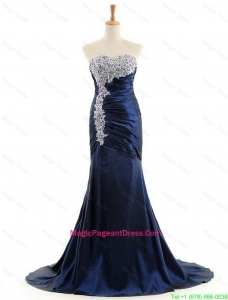 Custom Made Mermaid Royal Blue Pageant Dresses with Brush Train