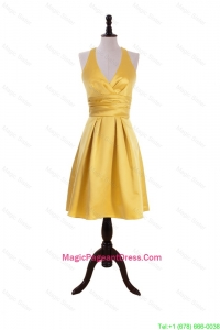 Exclusive 2016 Ruching Halter Top Short Pageant Dress in Gold
