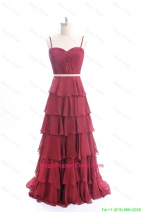 Exclusive Brush Train Belt and Ruffled Layers Pageant Dresses in Wine Red