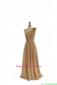 Gorgeous Belt and Hand Made Flower One Shoulder Pageant Dresses