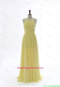 Simple 2016 Scoop Chiffon Yellow Pageant Dresses with Sweep Brain
