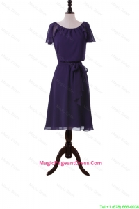 Simple Short Purple Pageant Dresses with Sashes and Ruffles