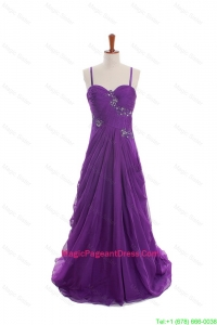 Cheap Appliques and Beading Eggplant Purple Pageant Dresses with Sweep Train