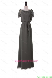Classic Empire Grey Long Pageant Dresses with Sashes for 2016