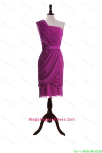 Custom Made Ruching and Belt Short Pageant Dresses in Fuchsia