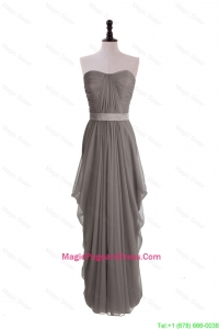 Discount Grey Long Pageant Dresses with Ruching and Belt