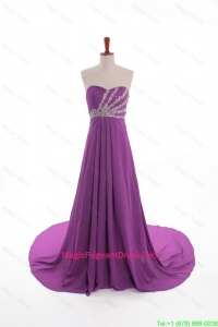 Fashionable Beaded Court Train Pageant Dresses in Eggplant Purple