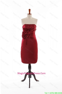 Modest Bowknot Short Pageant Dresses in Wine Red