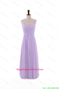 Most Popular 2016 Straps Lavender Long Pageant Dresses with Ruching