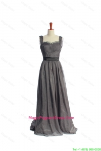 New Style Belt and Lace Grey Long Pageant Dresses in Organza