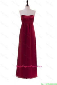 New Style Ruching Wine Red Pageant Dresses for 2016