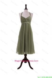 Simple Belt Halter Top Short Pageant Dresses in Olive Green