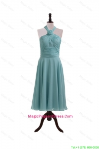 Simple Ruching and Hand Made Flower Halter Top Pageant Dresses for Homecoming