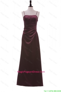 Simple Spaghetti Straps Ruching Long Pageant Dresses in Burgundy