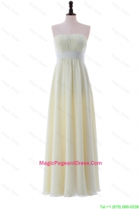Empire Strapless Belt Cheap Pageant Dresses with Ruching