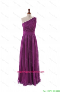 Luxurious One Shoulder Pleats and Belt Long Pageant Dresses for girls