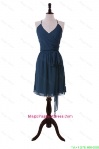 Brand New Halter Top Sashes Short Pageant Dresses in Navy Blue