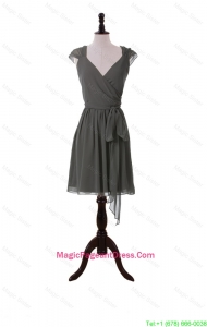 Classical V Neck Grey Short Pageant Dresses with Sashes