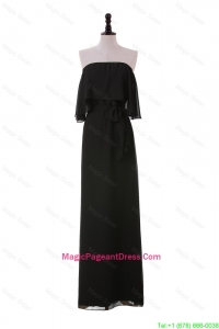 Exclusive 2016 Ruching Strapless Long Pageant Dresses in Black