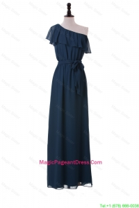 Exclusive One Shoulder Sashes and Ruffles Pageant Dresses in Navy Blue for girls