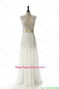 New Style White Long Pageant Dresses with Beading and Belt for 2016