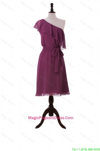 Perfect Ruffles and Sashes One Shoulder Short Pageant Dresses in Burgundy
