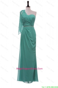 2016 Exclusive Turquoise One Shoulder Long Pageant Dresses with Beading