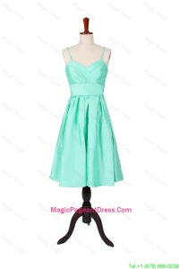 2016 Summer A Line Spaghetti Straps Apple Green Pageant Dresses