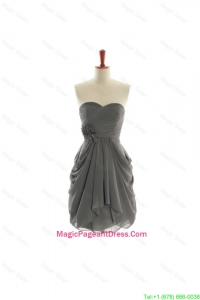 Brand New Hand Made Flowers Short Pageant Dresses in Grey