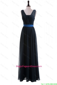 Custom Made Empire Straps Pageant Dresses with Ribbons in Navy Blue