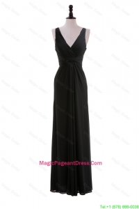 Discount Empire V Neck Ruching Black Pageant Dresses for Holiday