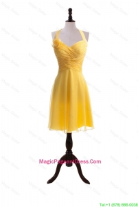 Exquisite 2016 Hand Made Flower and Ruching Short Yellow Pageant Dresses
