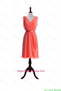 Gorgeous Empire V Neck Pageant Dresses with Sashes in Watermelon