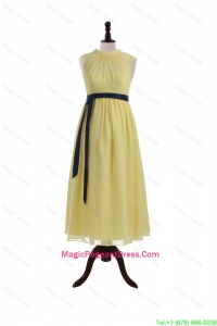 Pretty High Neck Tea Length Pageant Dresses with Sashes For Girls