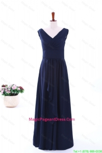 Simple Empire V Neck Pageant Dresses in Navy Blue