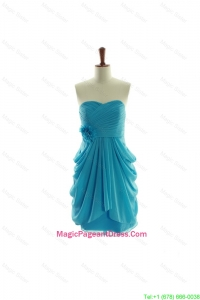 Special Hand Made Flowers Short Pageant Dresses in Aqua Blue