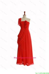 Beautiful One Shoulder Red Pageant Dresses with Hand Made Flowers