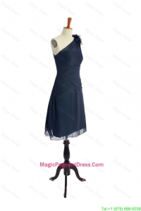 Brand New One Shoulder Hand Made Flowers Short Navy Blue Pageant Dresses