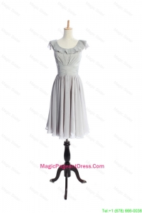 Custom Made Scoop Short Ruffles and Pleats Pageant Dress in Grey
