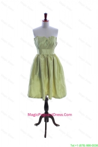 Exclusive Yellow Green Short Pageant Dress with Ruching and Belt