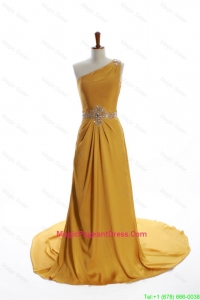 Exquisite One Shoulder Beading Gold Pageant Dresses with Court Train