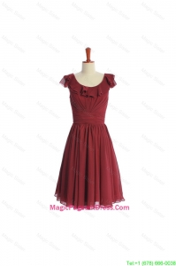 Inexpensive Wine Red Short Pageant Dress with Ruffled Layers and Belt