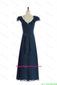 Most Popular 2016 Ruching and Sashes Navy Blue Pageant Dresses