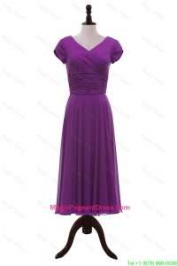 Most Popular V Neck Pleats Pageant Dresses in Eggplant Purple