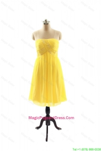 New Style Yellow Short Pageant Dresses with Ruching for 2016