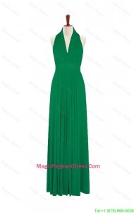Teenage 2016 Summer Halter Top Green Long Pageant Dresses with Pleats